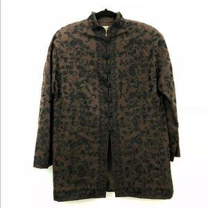 Carmen Marc Valvo Brocade Embroidered Long Jacket
